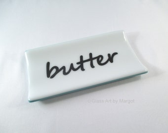 Fused Glass Butter Dish Serving Plate White Blue