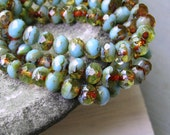 Czech glass beads, faceted rondelle, transparent and opaque blue turquoise and amber brown  with picasso edges 5mm x 7mm / 25 beads  6aZ0867