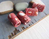 red tube glass beads, red and white  with motif, pattern matte opaque, ethnic millefiori Indonesian beads  12 x 21- 22mm (4 beads)  6bb10-6