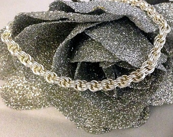 Sweetheart Spiral Bracelet, sterling silver,chainmaille