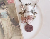 Shabby Cottage Chic Romantic Frozen Charlotte Angel Mixed Media Assemblage Altered Bronze and Copper Statement Necklace