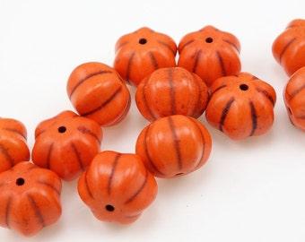 12 Orange Pumpkin Beads 14mm x 12mm Dyed Ceramic Beads - Halloween Autumn Fall Beads Harvest Thanksgiving Beads Pumpkin Shape