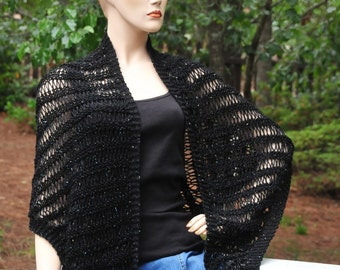 Black Hand Knit Shawl, Knitted Triangle Shawl, Loose Knit Shawl, Vegan Shawl, Women's Wrap, Summer Wrap, Vegan Wrap, Black Shimmer Shawl
