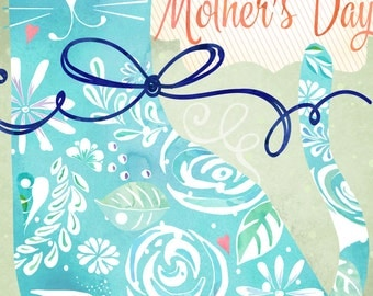 Floral Cat Mother's Day Card  Printable Instant Download