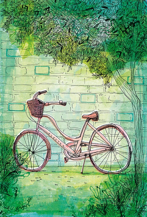 Happy Bike archival art print hand drawn bike illustration wall art