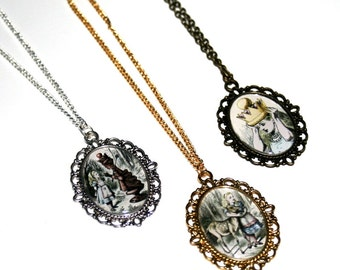 Alice In Wonderland Cameo Necklace, Mad Hatter, Humpty Dumpty, Through The Looking Glass, Tweedle Twins