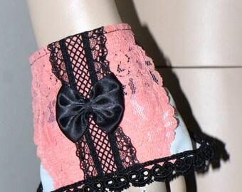 One of a kind Gothic lolita Black and white striped peach lace cuff SET