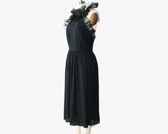 1970's Sheer Black Halter Backless Midi Dress