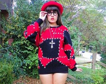 SALE 1980s Vintage Handknit Wool Cross Stitch Sweater Red and Black Ragdoll Boyfriend Sweater Size Medium