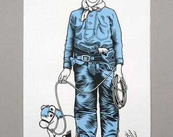 Blue Cowboy linocut original print