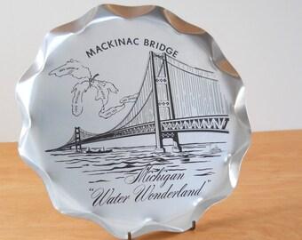 Vintage Mackinac Bridge Serving Tray • Vintage Michigan Souvenir • Metal Silver and Black Serving Tray