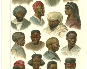 1870s African Chromolithograph Print Vibrant Color, Antique Wall Art