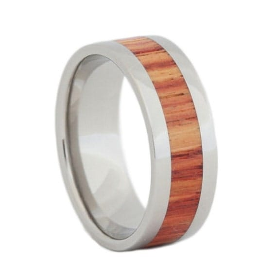 Titanium Ring Tulip Wood Inlay, Womens Wooden Wedding Band, Ring Armor Included