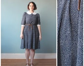 plus size dress / plus size peter pan collar dress / navy white polka dots / 1980s / XL