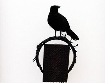 Black Crows Nest Headband - Head Piece / Black Bird Crow Raven Dark Romance Headband / Faux Spikes Halloween Headpiece / Made-To-Order