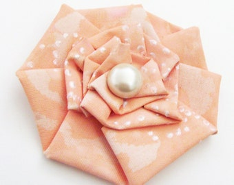 Pink Champagne Original Art Brooch - Pin / Pink, Peach & Cream Fashion / Art Bloom Series / Wearable Art Brooch / Unique Gift Under 50