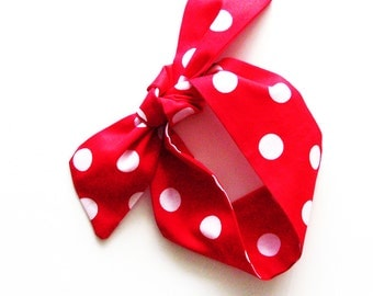 Red White Polka Dots Head Scarf / Hair Accessory / Neck Scarf / Handbag or Walker Adornment / Hair Scarf / Gift Under 20