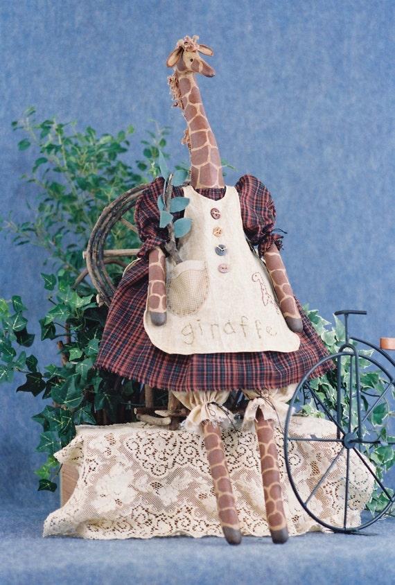 Mailed Cloth Doll Pattern - 27in Country Girl Giraffe