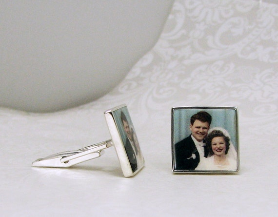 Sterling Silver Picture Frame Photo Tile Cuff Links - A12