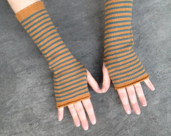 Fingerless Gloves Stripes Arm Warmers Striped Mittens Mitaines Merino Armstulpen Wrist Warmers Arm Sleeves