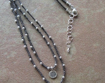 Layered Hill Tribes Silver Floral Pendant Braided Waxed Linen Necklace