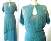 1940s dress / 40s Beaded Dress / Keyhole Dress / SPARKLING FLOWER Dress