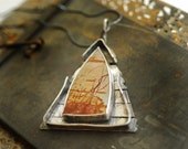 Bayou Dead Camel Jasper Statement Jewelry Pendant Necklace, Marsh Water Reeds Weathered Wood Wearable Metal Art Picture Stone House Unique