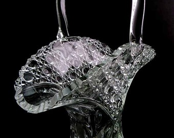 Tall Victorian Style L.E. Smith Pressed   Hand Finished Crystal Glass Basket Applied Handle Vase Diamonds Buttons Pattern Sawtooth Lace Rim
