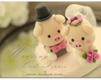 piggy and piglet bride and groom wedding cake topper---k756