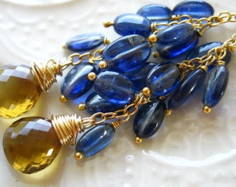 Blue and Gold Gemstone tassel Earrings Gemstone Tassel Earrings Royal Blue and Gold Earrings