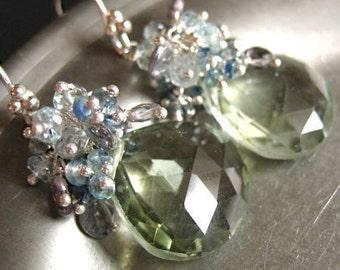 Green Amethyst Gemstone Earrings-Still Waters