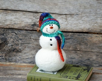 Snowman - handmade - needle felted- one of a kind -  745