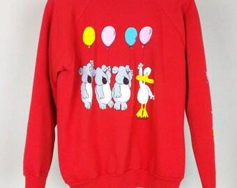Vintage Zoo Crew Red Sweatshirt L Misses 1980s