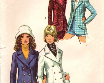 1970s Simplicity 9610 Vintage Sewing Pattern Misses Tailored Blazer, Fitted Jacket Size 10 Bust 32-1/2