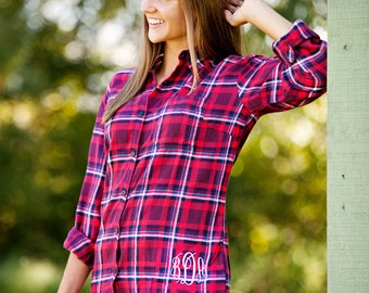 Monogrammed Flannel Shirt - Red Plaid - Personalized Flannel Shirt, Gift for Her, Gift, Fall Fashion, Traditional Plaid Flannel