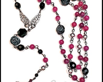 Black and Purple Violet Angel Wings Gunmetal Rosary-style Cross Y Necklace Czech Glass Candy Jade Acrylic Roses Beads