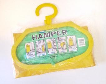 vintage hamper - yellow hanging laundry clothing bag - toy storage