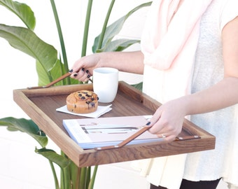 Walnut + Leather Breakfast Tray: handmade, solid wood, couples gift