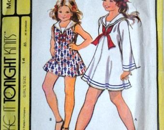 Vintage 70's McCall's 3141 Sewing Pattern, Girl's Sailor Collar Dress, Retro Nautical, Size 14, Make It Tonight Pattern