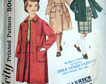 Vintage 60's Simplicity 3657 Sewing Pattern, Girls' Skirt And Coat In Two Lengths, Size 7, 25 Breast