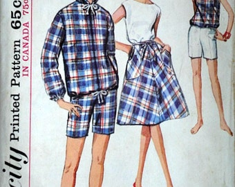Misses' Jacket, Wrap Skirt, Blouse, and Shorts, Simplicity 5836 Vintage 60's Sewing Pattern, Size 14, 34 Bust, Uncut Factory Folded, Retro