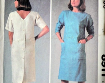 Vintage 80's McCall's 8911 Sewing Pattern, Misses' Back Buttoned Dress, Size 12, 34 Bust, Easy to Sew