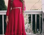 LillyAnnaKids Ladies Bree Circle Ruffle Fuschia Pink Valentine Dress Lala Modest
