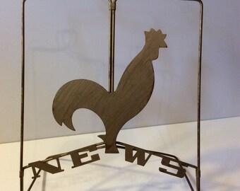 VTG Brass Rooster Recipe Stand // Recipe Holder // News // Kitchen Decor // Rustic // Magazine Holder