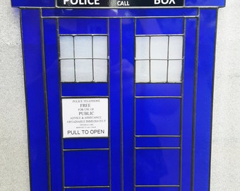 Police Box Stained Glass Suncatcher