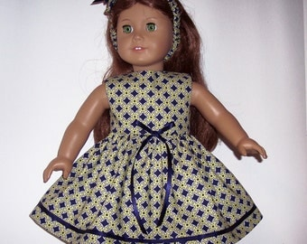 AMERICAN GIRL CLOTHES - Green & Navy Print Dress with Matching Headband