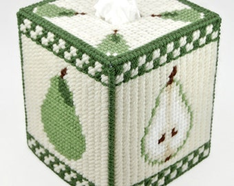 PATTERN: Country Pears Tissue Box Cover Pattern in Plastic Canvas
