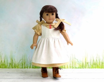 Calico Prairie Dress with Pinafore and Matching Hairbows, fits American Girl Kirsten Doll Dress