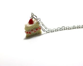 Strawberry Shortcake Necklace, Miniature Food Jewelry, Polymer Clay Food Jewelry