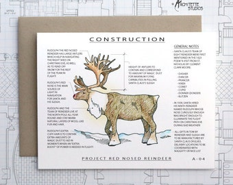 Project Rudolph the Red Nosed Reindeer - Christmas Architecture Construction Card